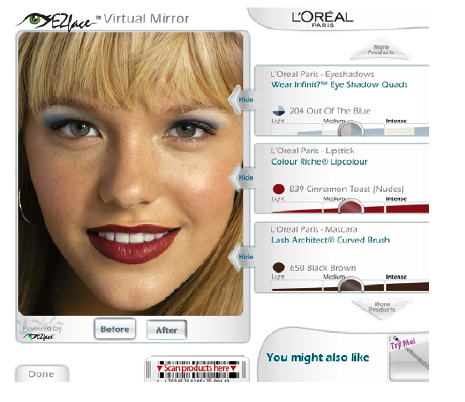 Espelho virtual mostra como maquiagem ficará antes de ser aplicada ao rosto
