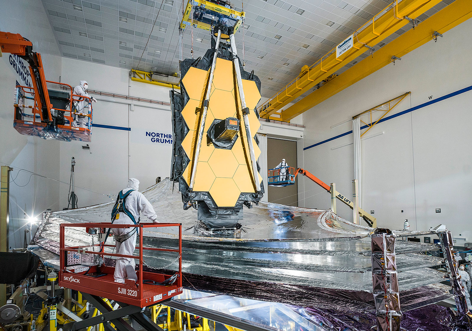 The James Webb Space Telescope (JWST) undergoing tests on Earth before departing for space.