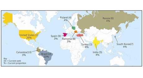 mapa spam