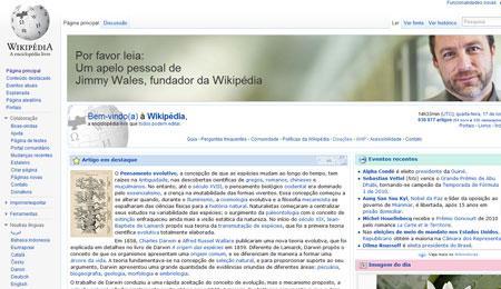 Fundador da Wikipédia faz apelo aos usuários