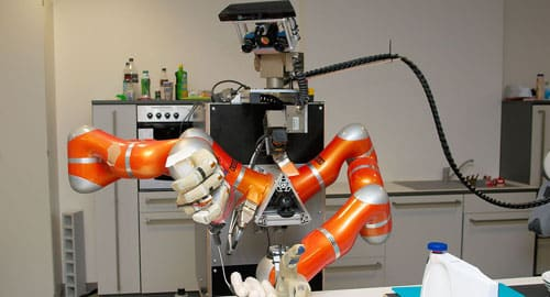 Robô preparando salsichas