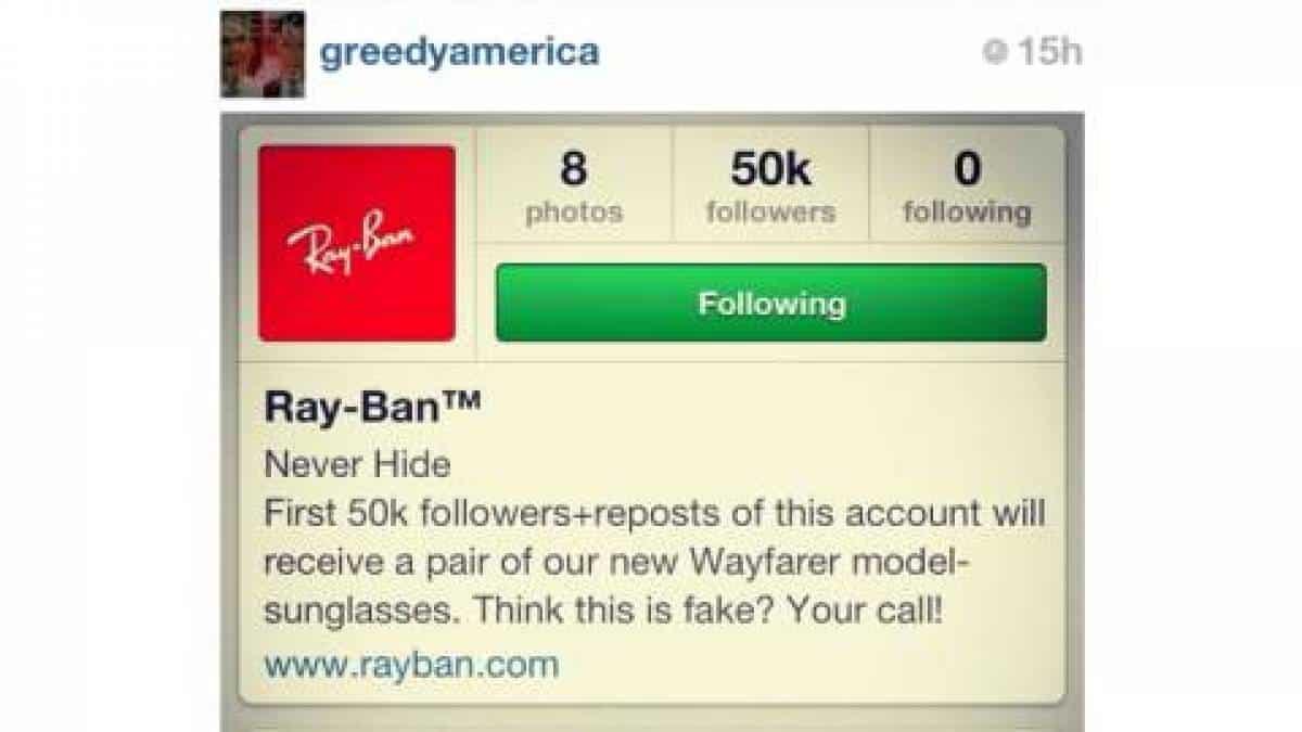 2e7b06f00509d Atenção  promoção da Ray-Ban no Instagram é falsa