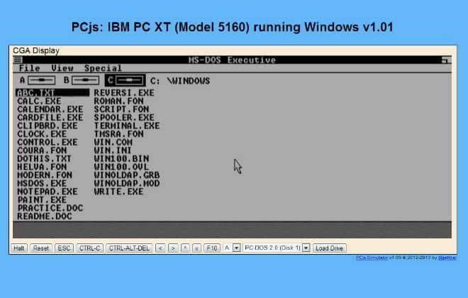 Use o Windows de 1985 pelo navegador
