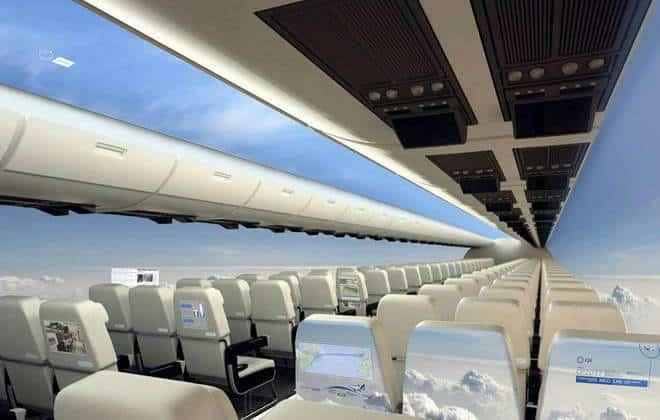Empresa quer trocar janelas de aviões por telas inteligentes