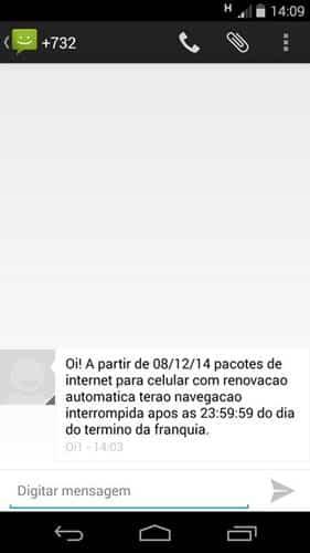 aviso de corte de internet da oi por sms