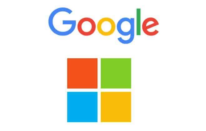 Logotipos do Google e da Microsoft usam as mesmas cores