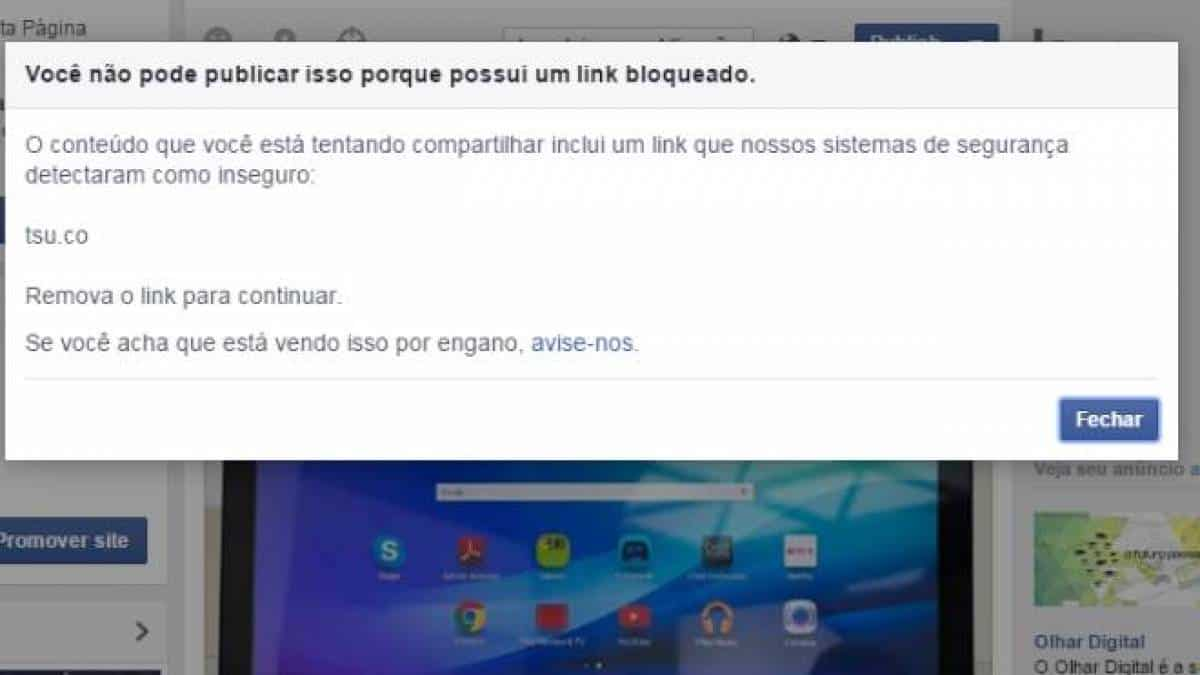 Facebook bloqueando links do Tsu