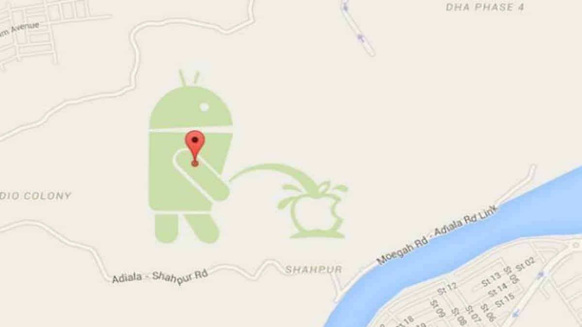 Android urina sobre logo da Apple