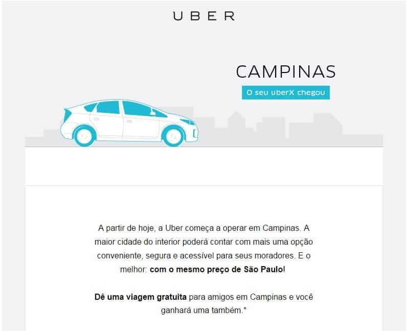 Uber anuncia que passa a funcionar também em Campinas