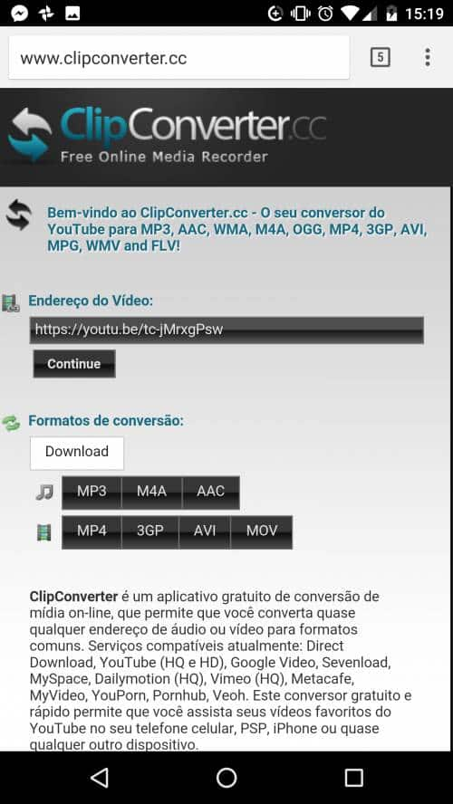 baixar video do youtube android