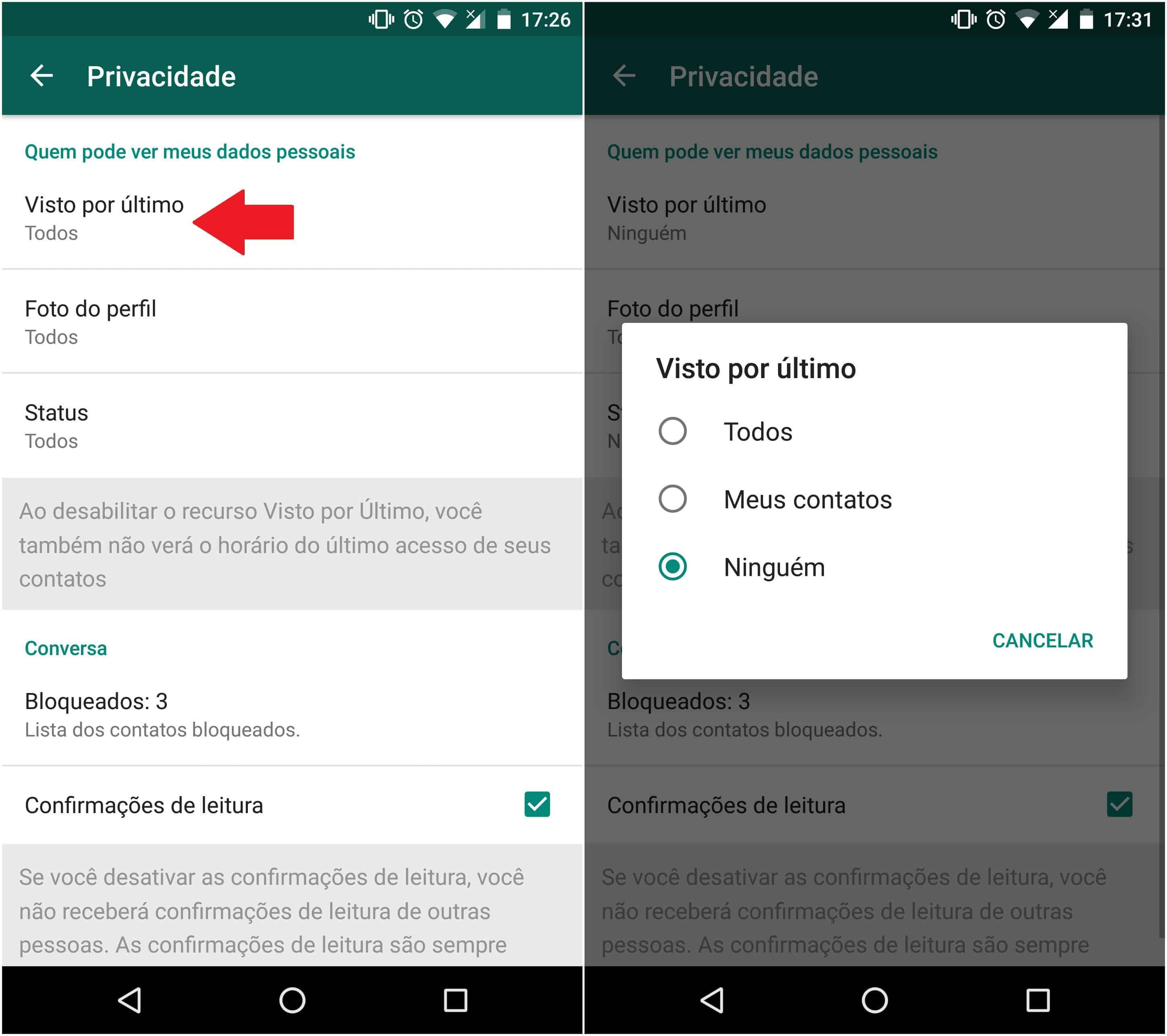 Como ocultar online no whatsapp