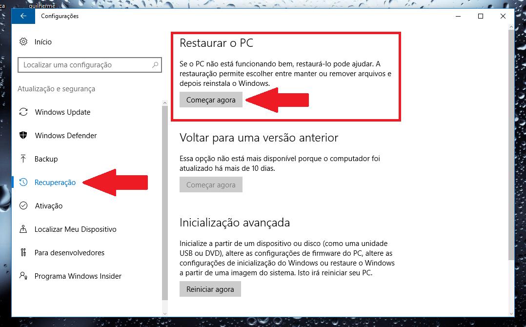 como reiniciar windows 10