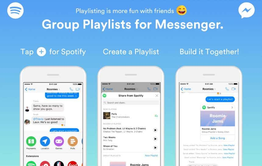 Spotify permite criação de playlists colaborativas dentro do Messenger