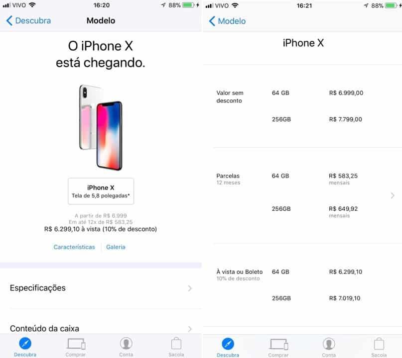 Apple mostra preço do iPhone X no Brasil