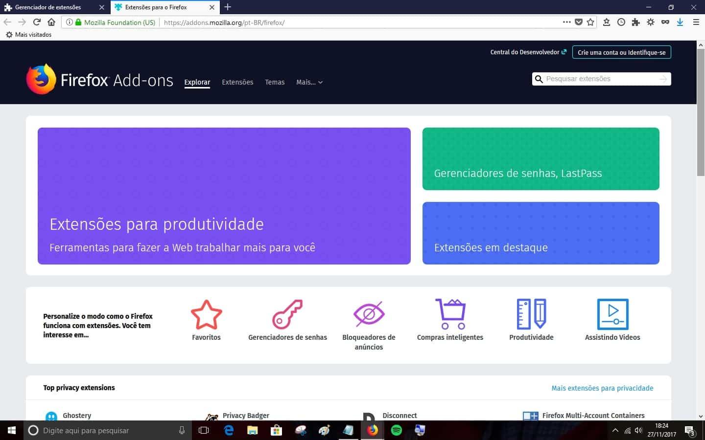 Para o Firefox