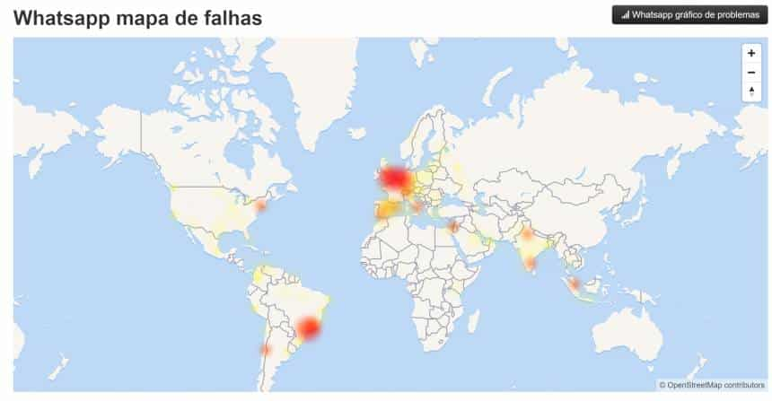 Usuários de vários países relatam queda do WhatsApp na tarde deste domingo