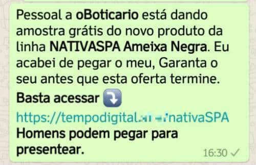 Golpe no WhatsApp oferece promoção falsa do O Boticário