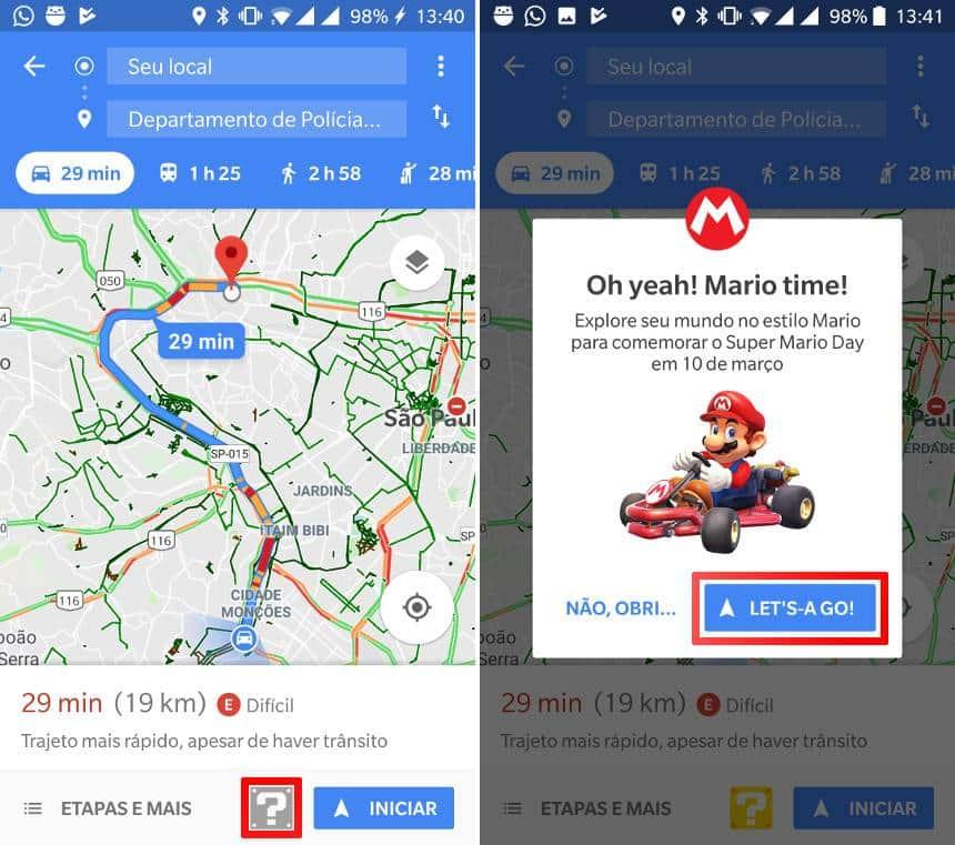 Mario Kart invade o Google Maps