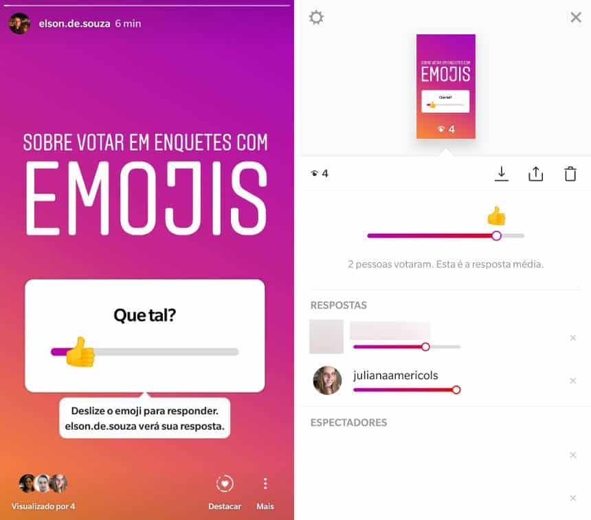 Instagram ganha enquete em forma de emoji