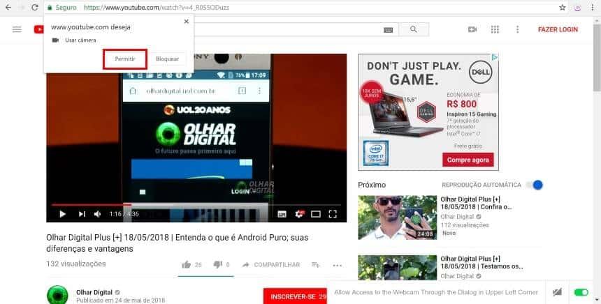Extensão pausa vídeo do YouTube quando usuário para de olhar a tela