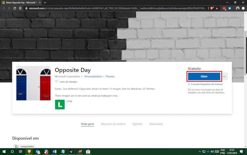 Reprodução  - 20190111214606 - Windows 10 ganha pacotes de papéis de paredes gratuitos; veja como baixar