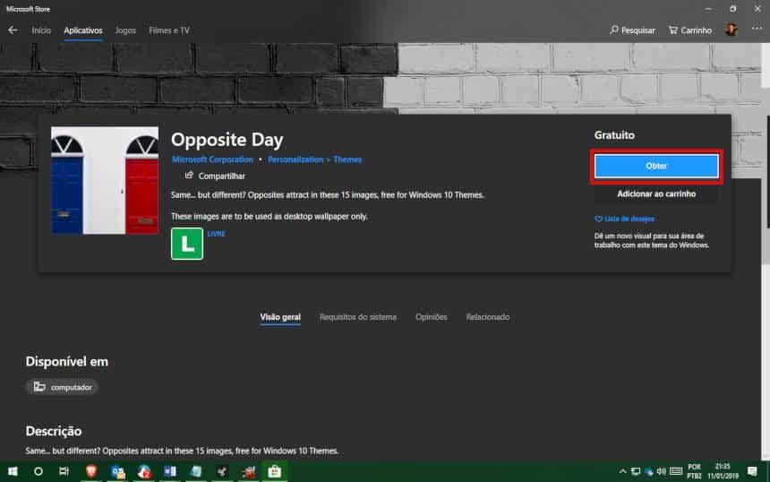 Reprodução  - 20190111214657 - Windows 10 ganha pacotes de papéis de paredes gratuitos; veja como baixar