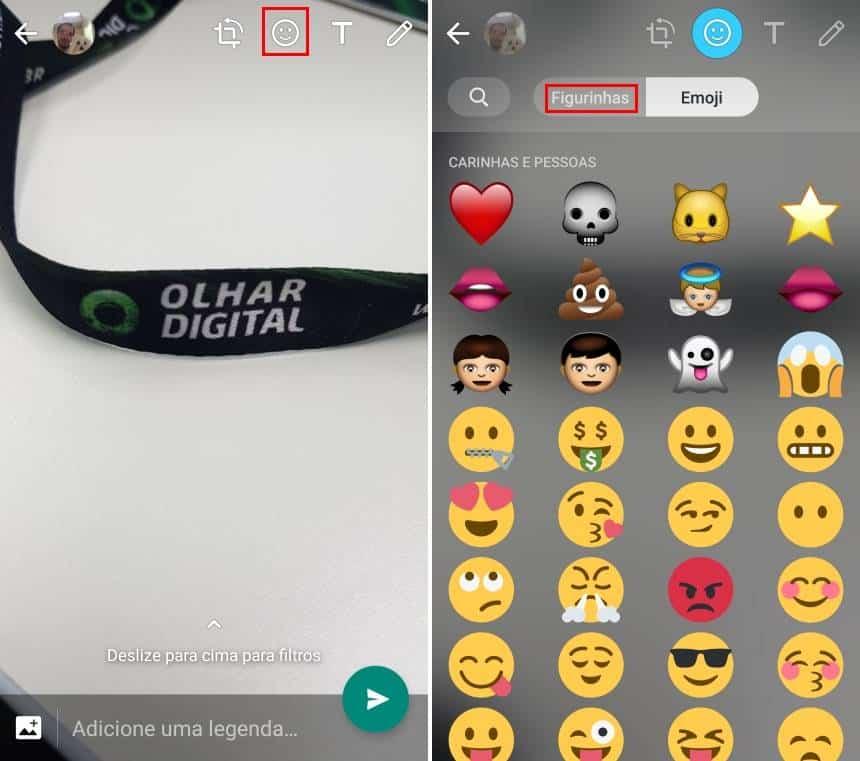 Reprodução  - 20190426163112 - Como 'colar' figurinhas em fotos ou imagens enviadas no Status do WhatsApp