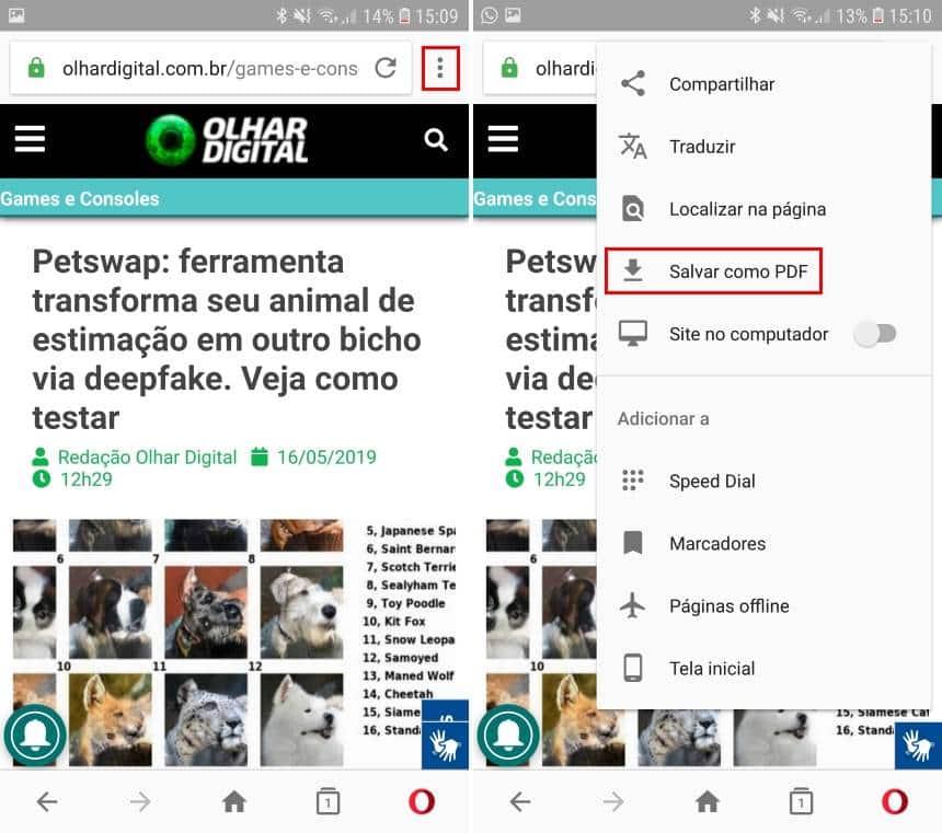 Reprodução  - 20190516164438 - Como salvar páginas de sites em arquivos PDF no Android