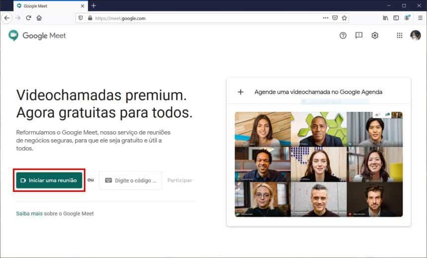 Participando de reuniões com o Google Meet