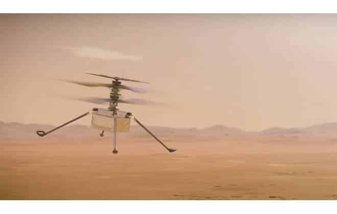 Ilustração do helicóptero Ingenuity sobrevoando a paisagem marciana