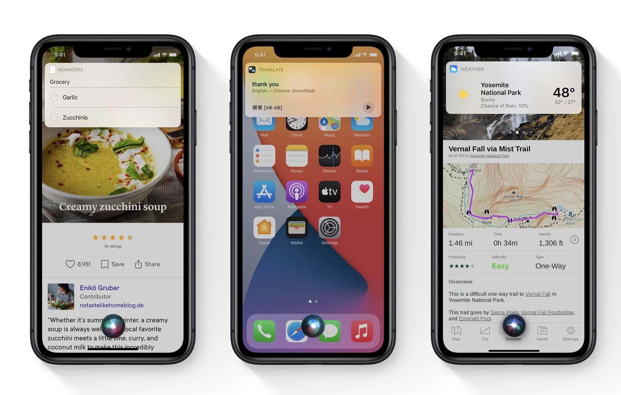 Siri ganha visual mais compacto no iOS 14, e no lugar de ocupar toda a tela, aparece em um c