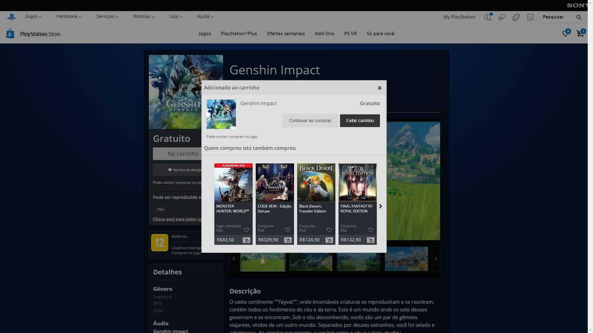 Instalação do jogo Genshin Impact para PS4. Crédito: Sony/Reprodução