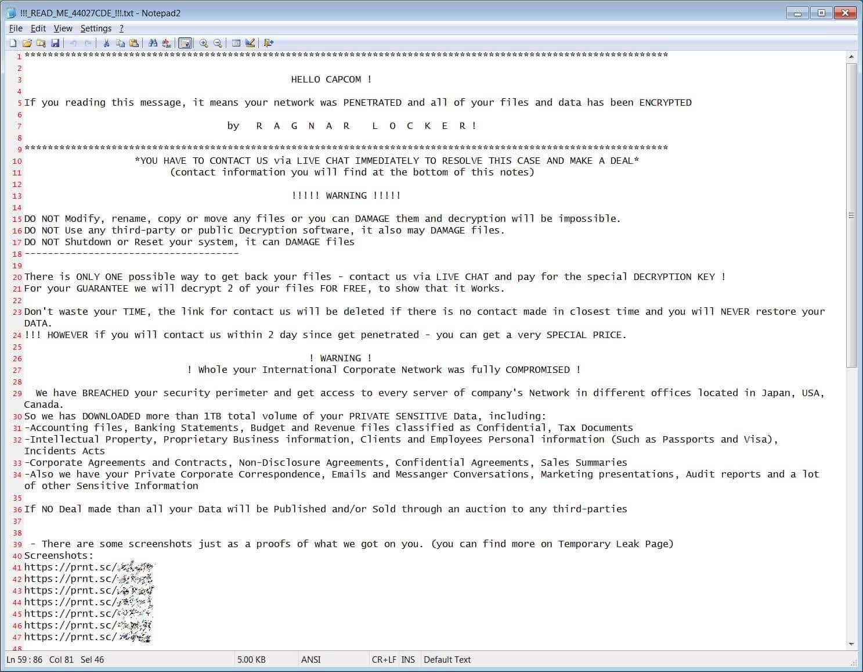 Nota de resgate deixada pelo grupo hacker Ramsom Locker após roubar 1 TB de dados dos sistemas da desenvolvedora de jogos Capcom