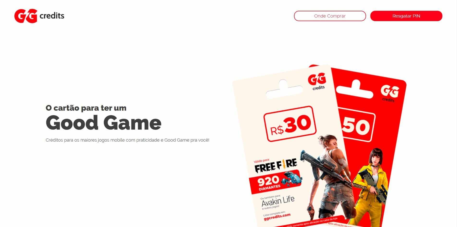 Resgate pode ser feito no site oficial da GG Credits. Crédito: Divulgação/GG Credits