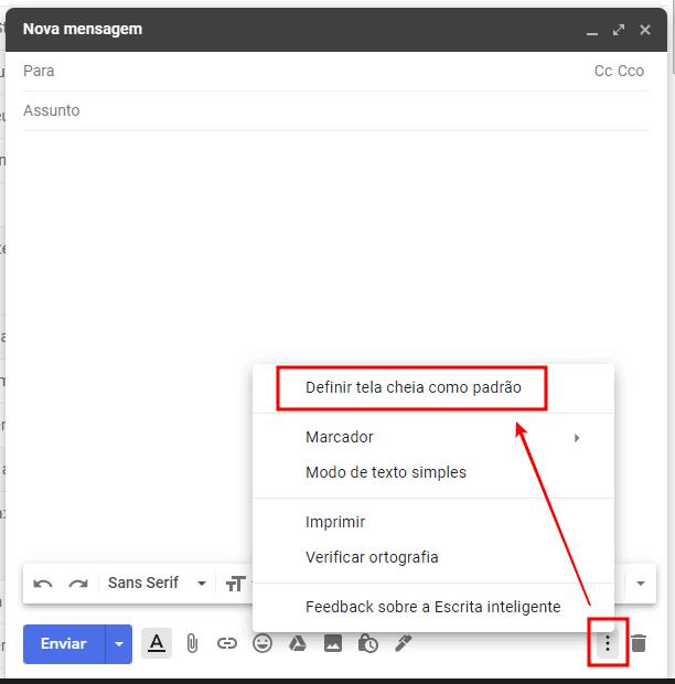 campo do email dentro do gmail