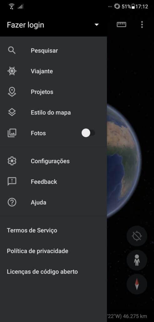 google earth modo noturno