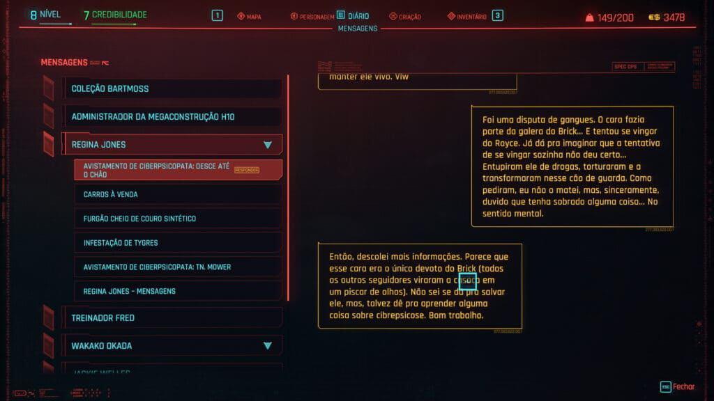 Descrição de uma side quest