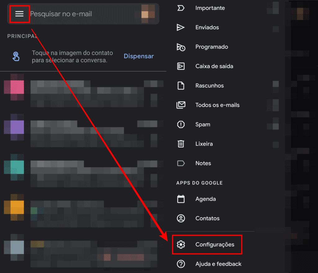 menu do gmail