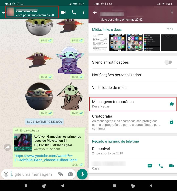 Como mandar mensagens temporárias no WhatsApp - Passo 2