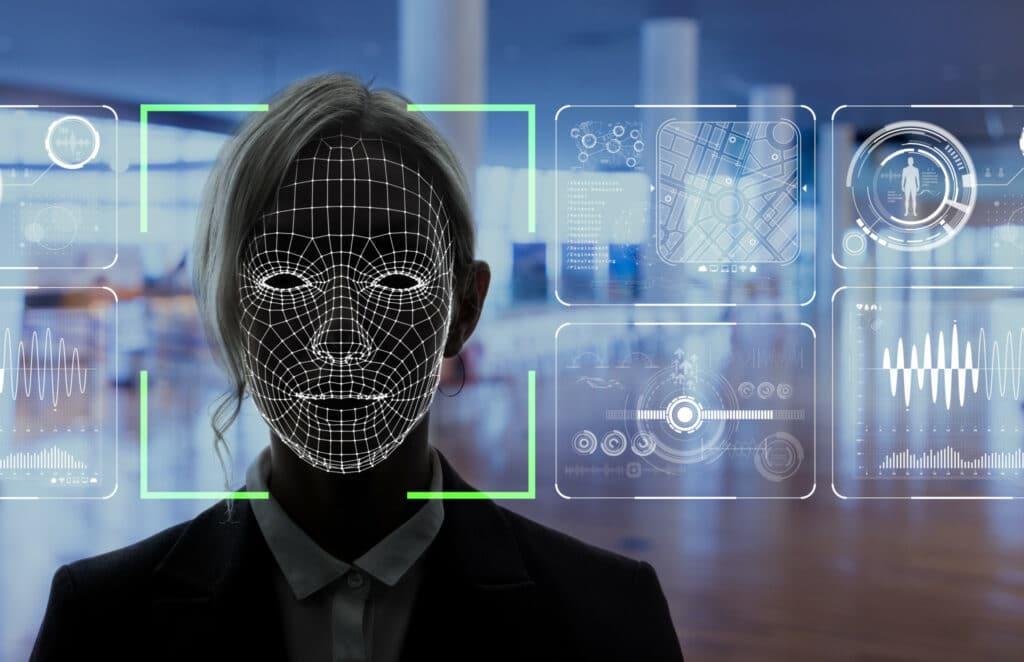 Ilustração de um sistema de reconhecimento facial