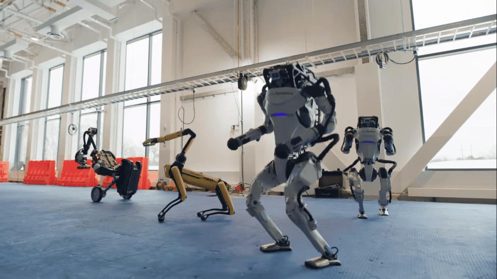 Robôs da Boston Dynamics dançando