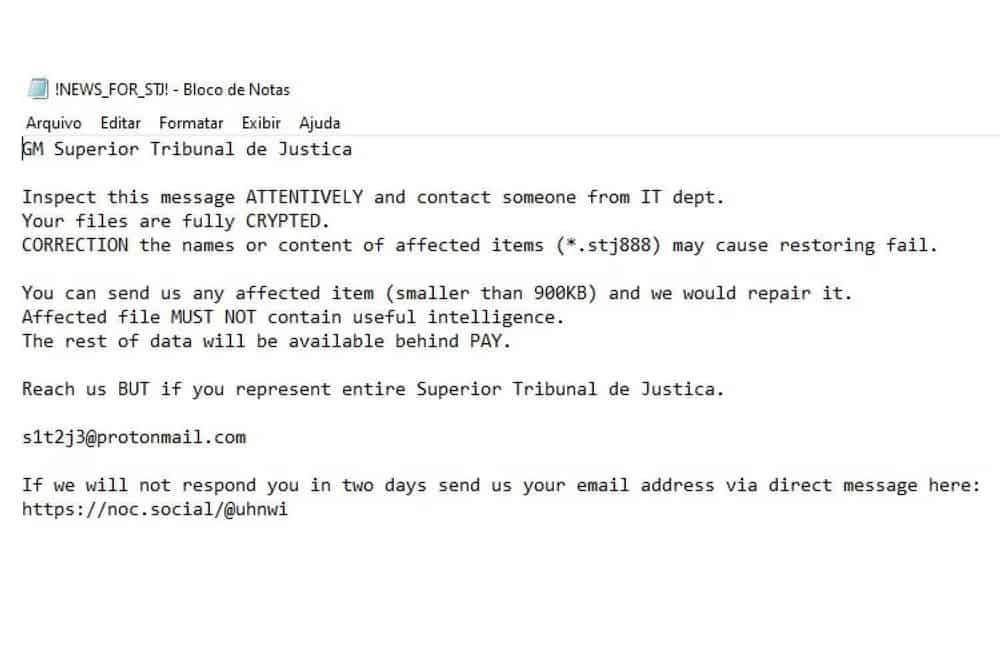 Bilhete do ataque ransomware contra o STJ