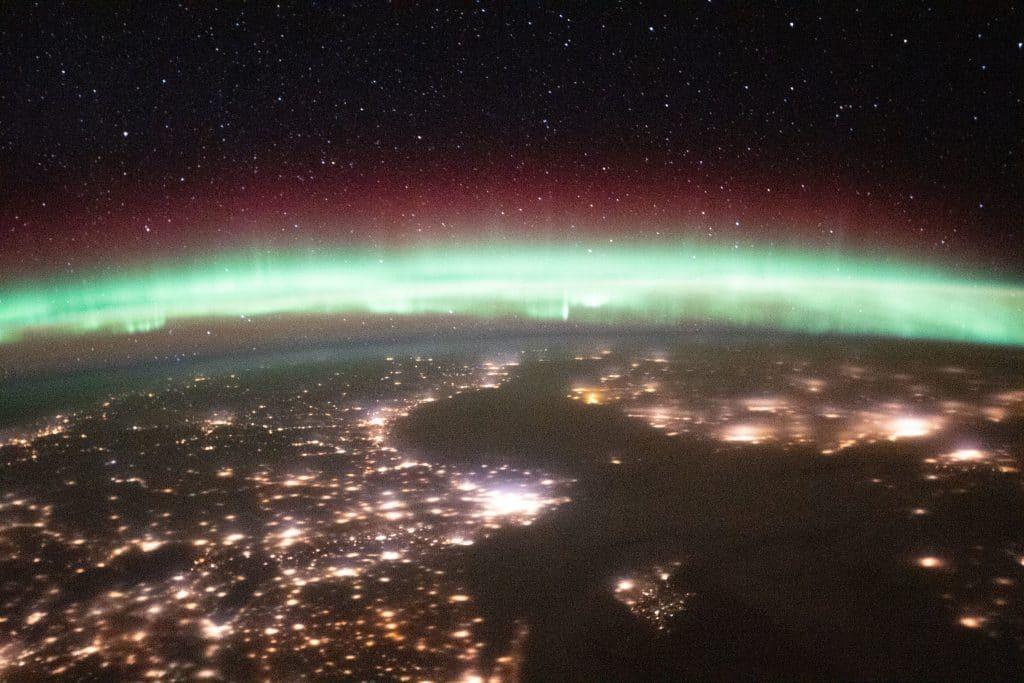 Aurora sobre a Suécia e a Finlândia.  Foto: Roscosmos