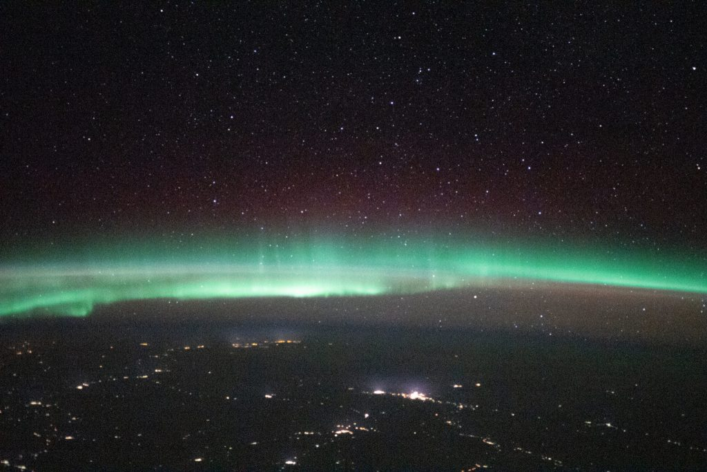 Aurora over Russia, between Ukraine and Kazakhstan. Image: Roscosmos