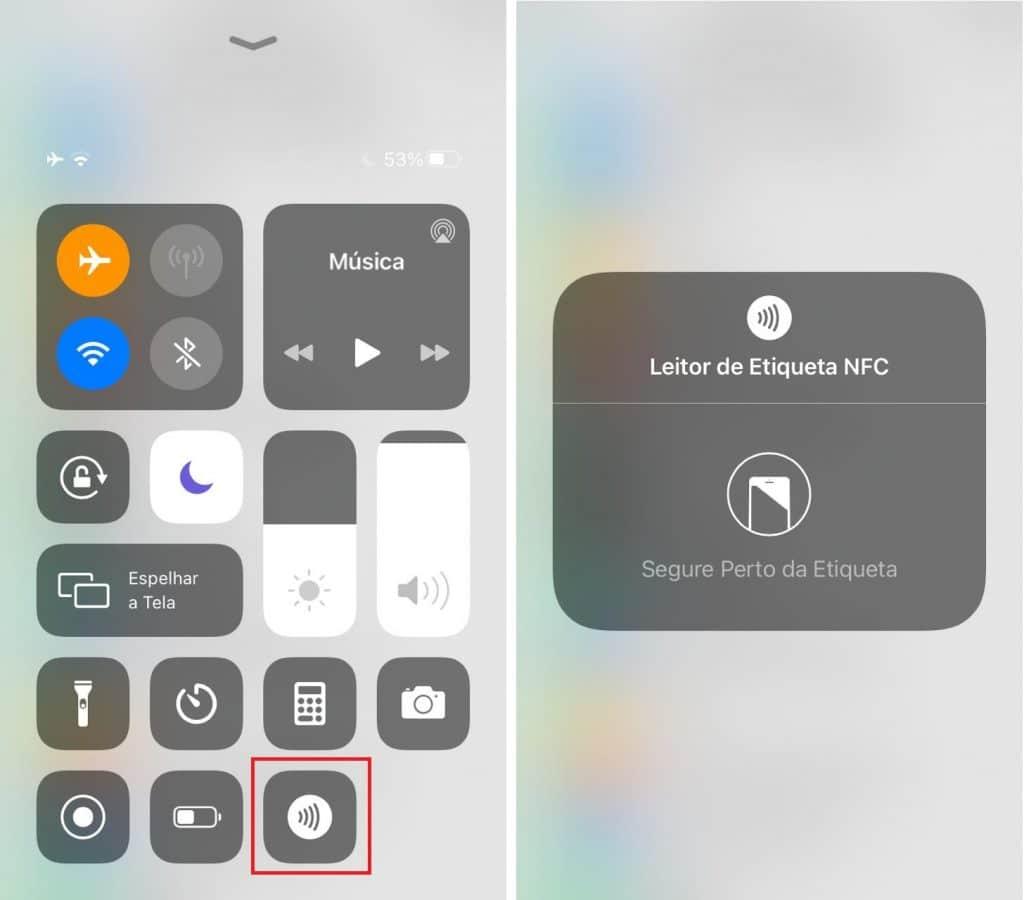 Painel de controle do iOS com ícone NFC.