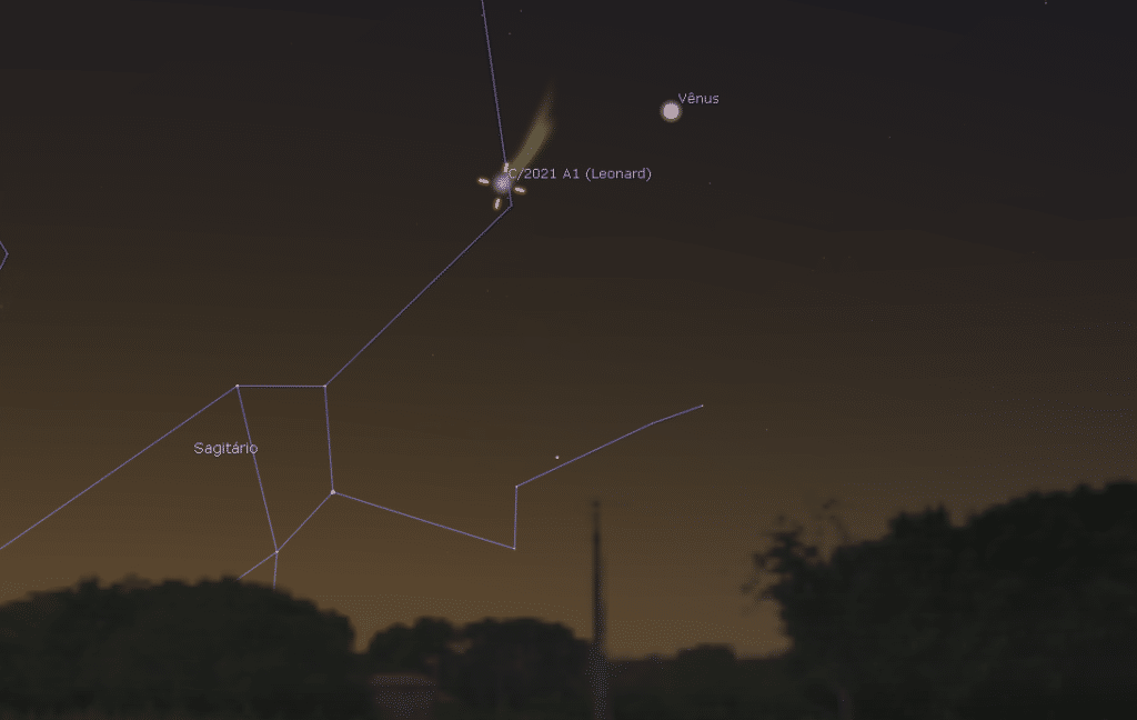 Vision expected for Comet C / 2021 A1 (Leonard) in conjunction with Venus in the sky of São Paulo