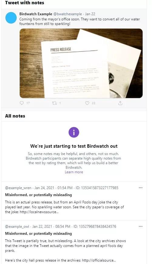 Exemplo de nota na plataforma Birdwatch, do Twitter