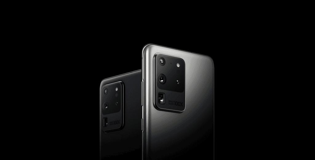 Modelo Samsung Galaxy S20 Ultra, com sistema operacional Android