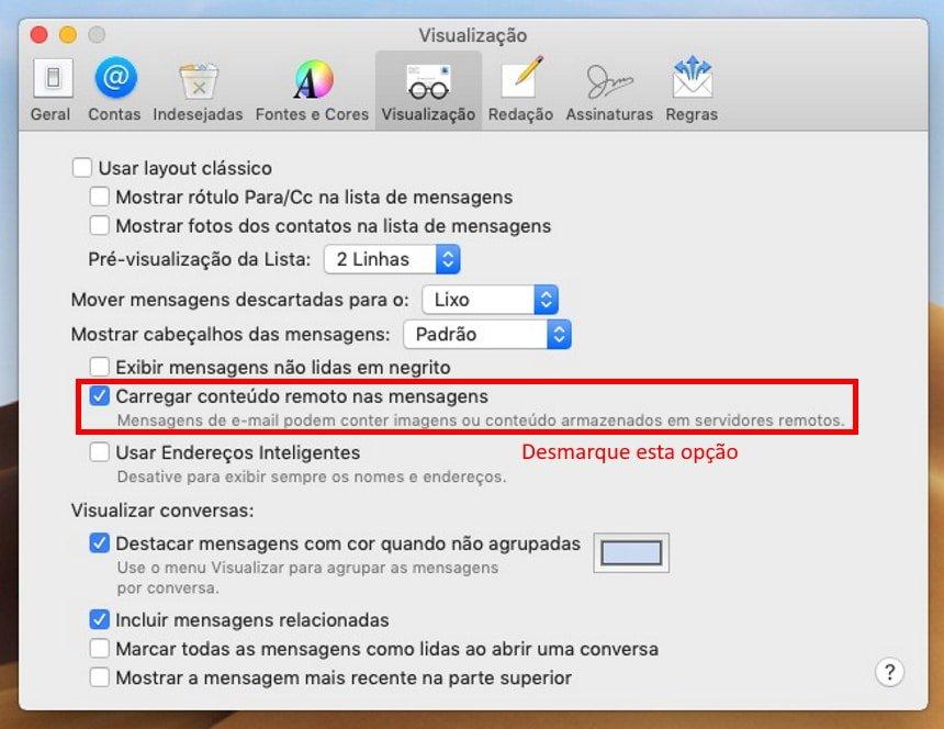 Cómo no ser rastreado en Apple Mail - Paso 1