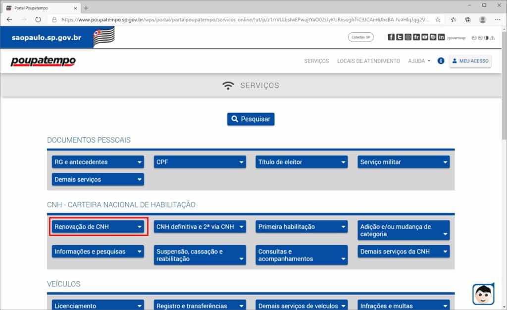 How to renew CNH through the Poupatempo website - Step 1